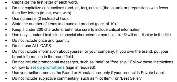 Amazon Title guidelines