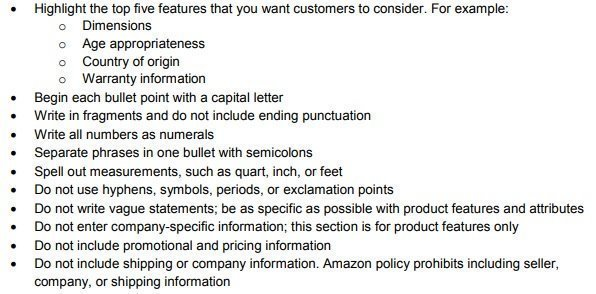 Amazon Product Feature (Bullet) Guidelines