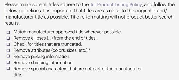 Jet title guidelines