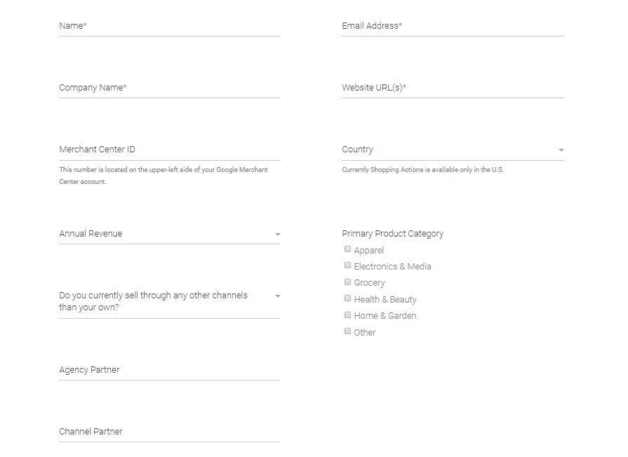 applying for Shoping actions