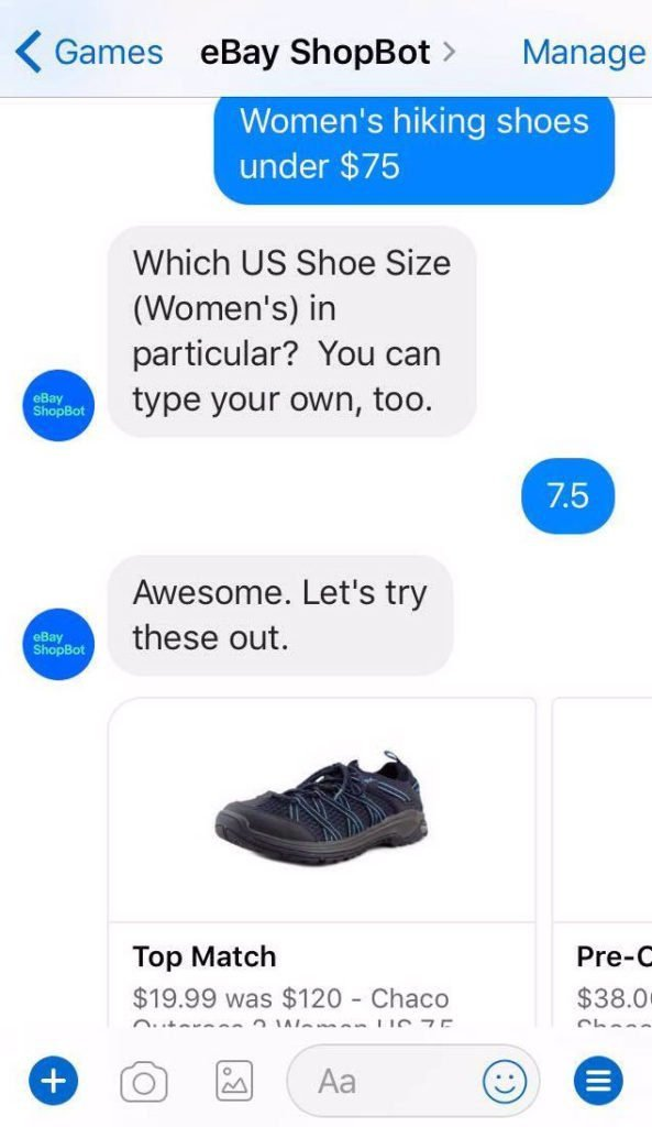 example of ecommerce chatbot