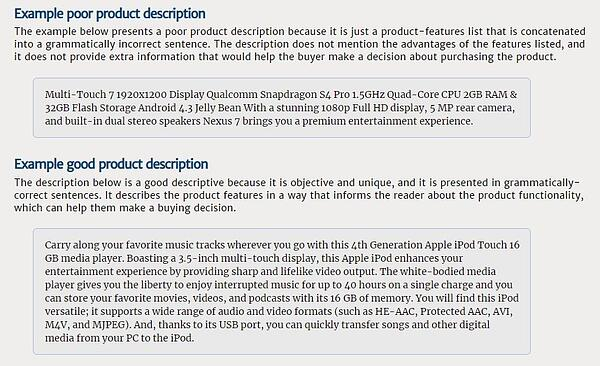 examples of good and bad eBay product descriptions