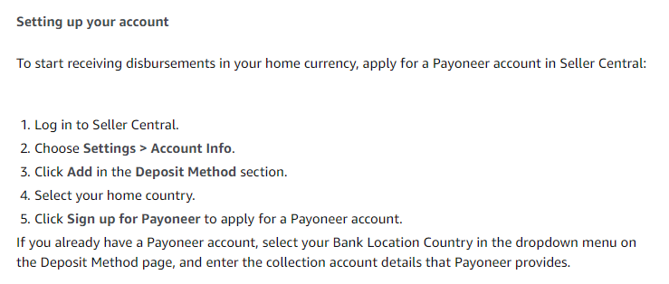 how to set up Payoneer payments in Seller Central