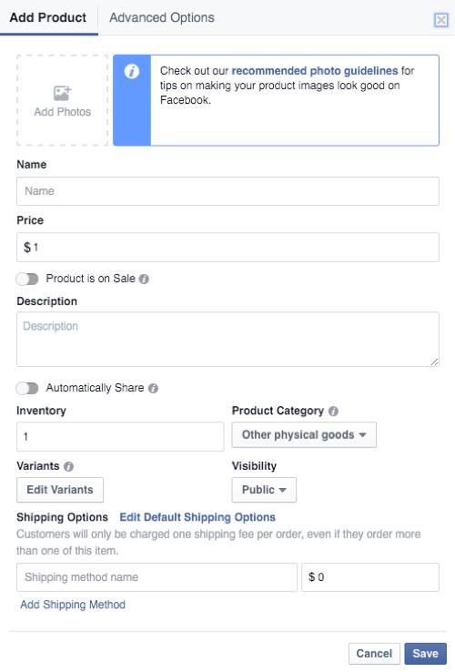how to set up Facebook shop