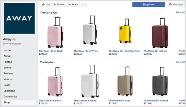 example of big eCommerce brands using Facebook shop