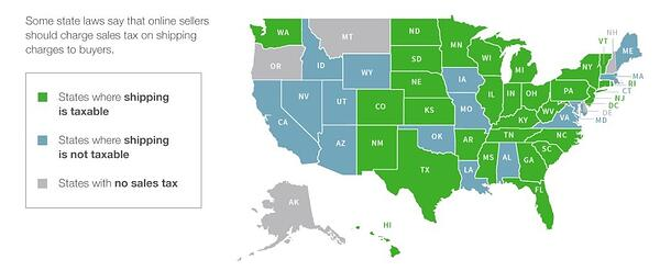 list of states where shipping is considered taxable and non-taxable.