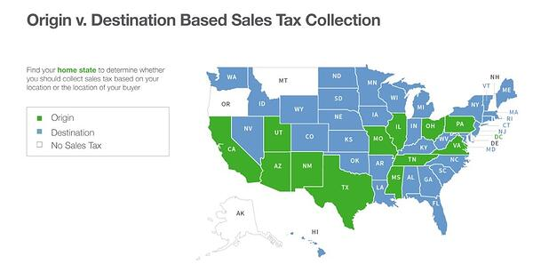 origin- and destination-based sales tax states