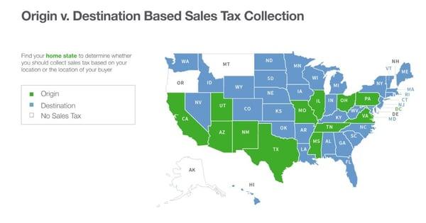 origin- and destination-based sales tax states