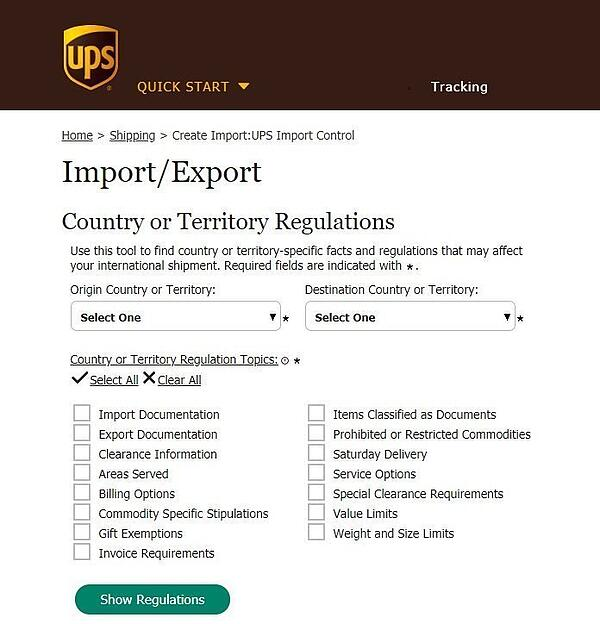 tools to access country-specific rules and regulations for shipping