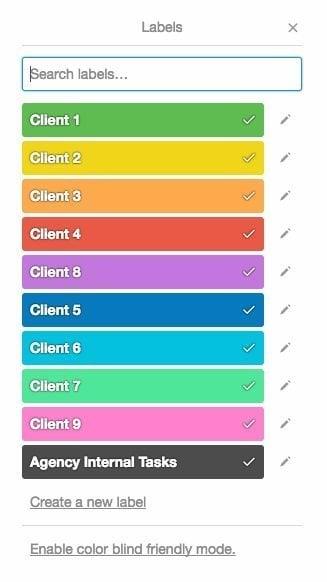 trello color labels for multi business management